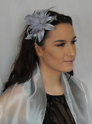Grey Silver Metal Color Lily Flower Feather & glitter Polka dots comb Fascinator