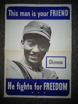 This Man Is Your Friend Original WWII U S Poster Chinese 1942 w/Watermarks