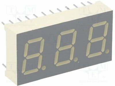 1 pcs Display: LED; 7-segment; 10.2mm; yellow; 52-92mcd; anode; No.char:3