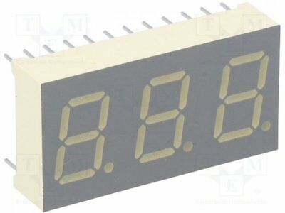 1 pcs Display: LED; 7-segment; 10.2mm; red; 21-56mcd; cathode; No.char:3