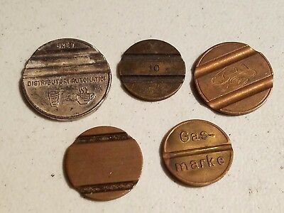 5 Slotted Machine Tokens, A Few Are Telephone