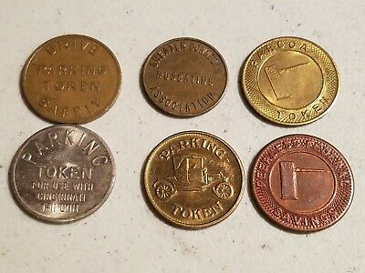 6 Different Parking Garage Machine Tokens,