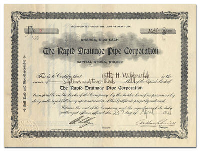 Rapid Drainage Pipe Corporation Stock Certificate (Jones Point, NY)