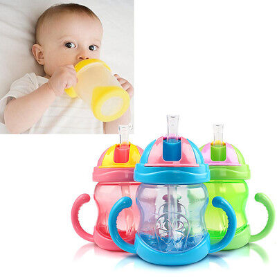 Infant Toddler Drinking Bottle Sippy Cups With Handles Baby Kids Straw Cup Mug#