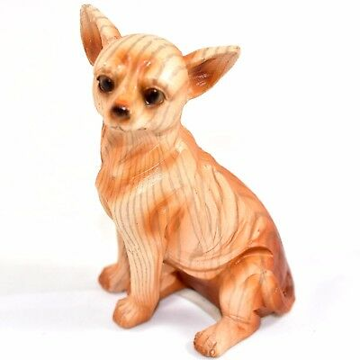 """Faux Wood Pattern Resin Sitting Chihuahua Puppy Dog 3.75"""" Figurine"""