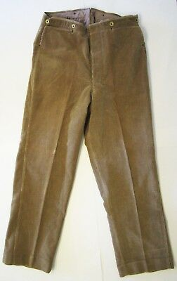 Vintage French Corduroy Pants Buckleback Brown Soft Heavy Weight Work Hunting 33