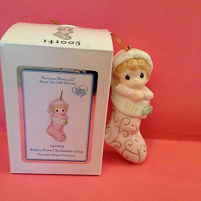 NIB Precious Moments 2014 GIRL Baby's First Christmas Ornament Annual Dated New