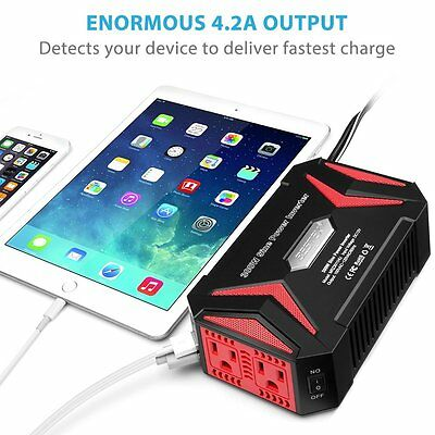 BESTEK 300W Pure Sine Wave Power Inverter DC 12V AC 110V 2 USB Charger Adapter
