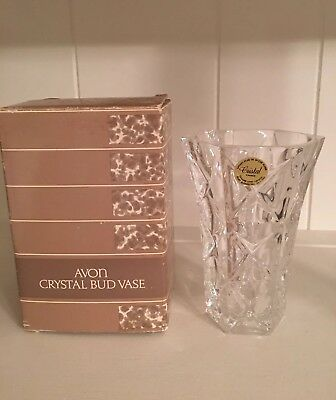 Avon Crystal Bud Vase 24% Lead Crystal New in Original Box, made in France