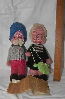 RARE VINTAGE DOLL late 1960's - 2 HAND KNITTED DOLLS FROM PORTUGAL with NEWSCLIP