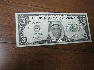 OBAMA Novelty 3 Dollar Bill Muslim Original Pad of 22 Removed from GOP Fair