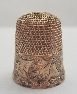 Antique Simons Brothers Gold Filled Thimble Trefoil Mark, Circa 1880 Size 11