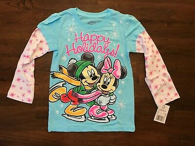 NWT Toddler Girl Minnie Mickey Mouse 'Happy Holidays' Shirt Christmas 12M-5T