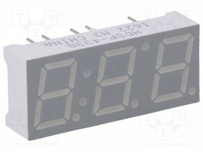 1 pcs Display: LED; 7-segment; 10mm; green; 3.2-5mcd; cathode; No.char:3