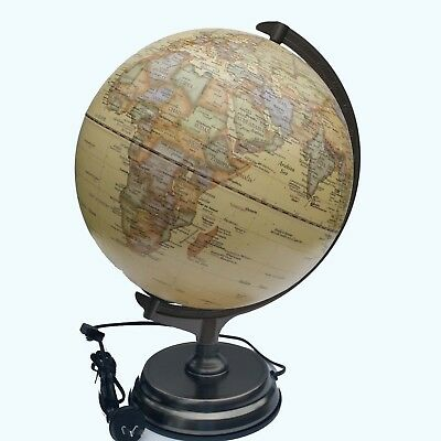 Embossed Raised Relief World Globe LED Table Lamp Home Wedding Gift 41x30cm