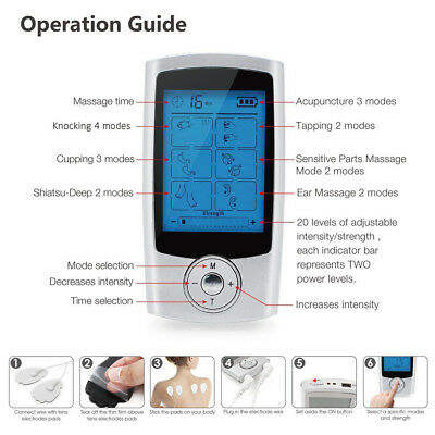 TENS EMS FDA Impulse massager 16 Modes Portable Electro Massager Therapy device