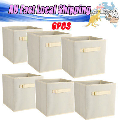 6X Beige Foldable Fabric Storage Collapsible Bins Box Cube Organiser Container