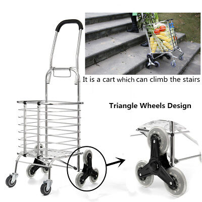Shopping Cart Trolley Aluminium Foldable Luggage 8 Wheels Folding Basket Bag AU