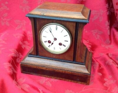 Fab French Mahogany And Ebonized  Mantel Clock  For Spares Or Repair