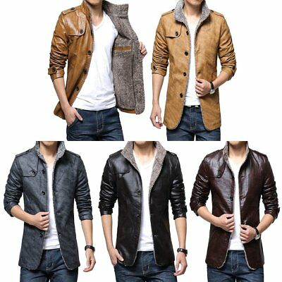 Winter Men Warm Jacket PU Leather Thick Coat Fur Parka Fleece Jacket OverCoat HT