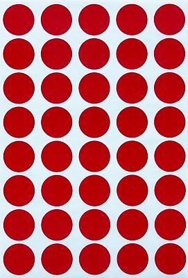 Round Red Labels Colored Sticker Dots 19mm 3/4 Inch Adhesive Circles 280 Pack