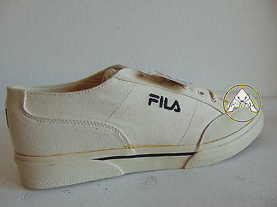 Vintage 90 FILA Scarpe 44.5 11 Tela Canvas Sneakers Trainers Shoes Bianco White