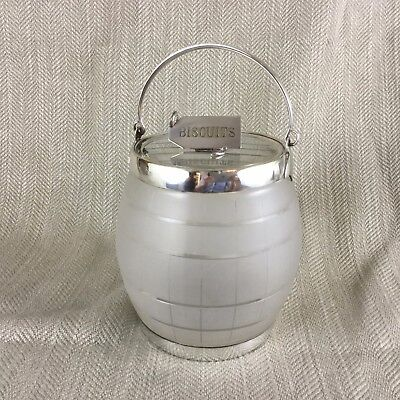 Rare Antique Biscuit Barrel Victorian Silver Plated Cut Glass Crystal Cookie Jar