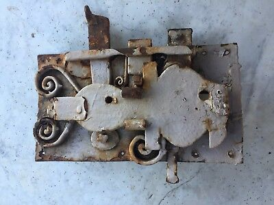 antique large hand-forged archaic iron door lock.