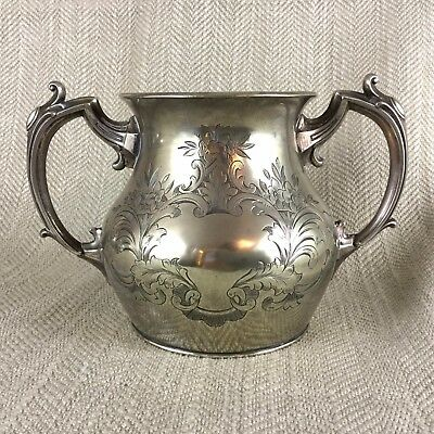 Victorian Silver Plated Bowl Pot Urn Flower Vase Ornate Rococo Handles