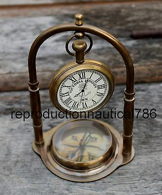Antique Brass Working Desk Top Stand Clock With Compass Collectible Home Decor