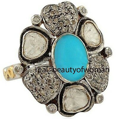 Victorian Vintage 2.41cts Rose Antique Cut Diamond Turquoise Silver Amazing Ring