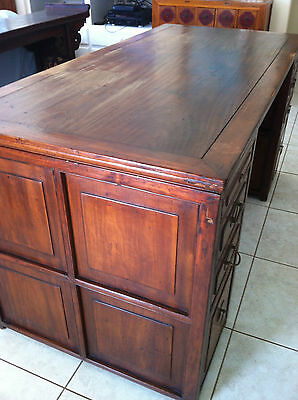 Partners Desk 19C Chinese Portable Removable Pedestal Top Walnut HeTaoMu