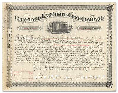 Cleveland Gas Light and Coke Company Stock Certificate (1892)