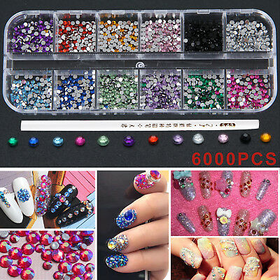 6000 Pcs NAIL ART STONE 2MM ROUND DIAMANTE GEMS CHOOSE FROM 12 COLOURS SETS