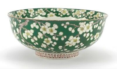 Chinese porcelain bowl, hand painted with flowers. 21.5cm diameter