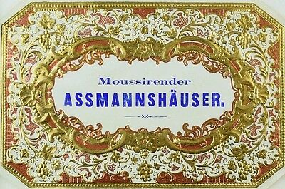 Embossed 1800's Wine Bottle Label Moussirender Assmannshauser *D