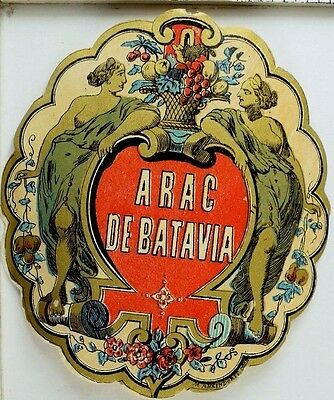 Vintage German Wine Bottle Label Arac De Batavia Grecian/Roman Ladies *C