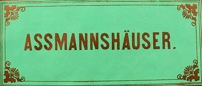 1870's-80's Assmannshauser German Wine Bottle Label Victorian Vintage F98