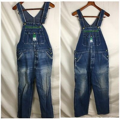 Lot 2 Vtg USA Liberty Overalls Carpenter Authentic Distressing Youth XL Adult S