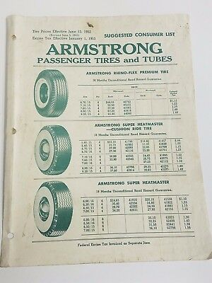 VINTAGE - ARMSTRONG RUBBER COMPANY - Passenger TIRE Price Lists 1952