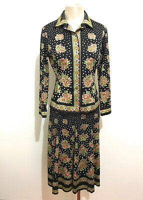 JACQUES ESTEREL PARIS VINTAGE '70 Completo Donna Flower Woman Tailleur Sz.M - 44