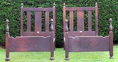 Rare Pair of Carved Oak Gothic Single Beds By Heals Heal & Son with Spring Bases
