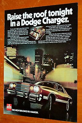 Beautiful 1977 Dodge Charger  Ad With T-Tops - Vintage 70S Mopar American Auto