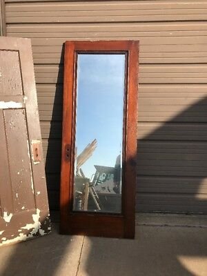 AN 423 antique Birch passage door with dressing mirror 29 15/16 X77.5