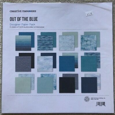 """New in Pkg Creative Memories Out Of The Blue 12""""x12"""" Designer Paper Pk 12 Sheets"""