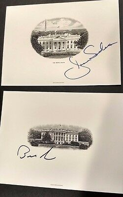 Bernie Sanders & Jane Signed White House Engravings Vermont  RARE Autographed