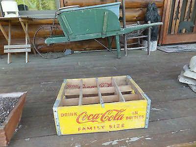 Vintage Yellow Drink Coca-Cola In Bottles Family Size Large Size Box Crate Coke