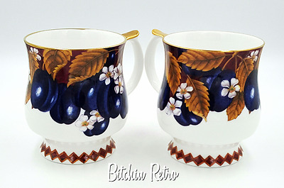 Queens Fine Bone China   Victoria Plums Design   Set of 2 Mugs With Gold Rims
