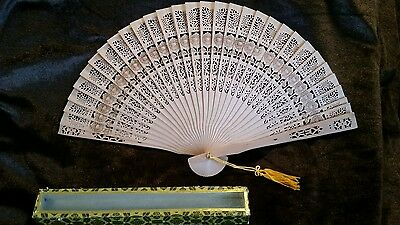 "Oriental Folding Fan - 9"" In Box"