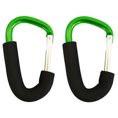 Buggy clips x2 large pram pushchair shopping bag hook carry clip, Green K7Y3